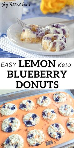 Keto Blueberry Donuts with Cream Cheese Glaze - Low Carb, Grain-Free, Gluten-Free, Sugar-Free, THM S - My Warm Lemon Blueberry Donuts with Cream Cheese Glaze are amazing. When you warm them up the icing melts down the sides. Best Keto Breakfast, Breakfast Recipes, Dessert Recipes, Breakfast Cookies, Breakfast Casserole, Low Carb Deserts, Low Carb Sweets, Donut Recipes, Keto Recipes