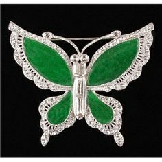 Jackie's Jade Butterfly Brooch expressed her love for all critters throughout her life. In her famous self-made painting on her closet doors she asked the decorator to paint things dearest to her heart. She especially loved butterflies as a symbol of the freedoms she could not retain as a public figure.