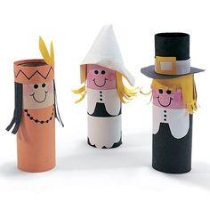 Toilet paper tube craft - Thanksgiving pilgrims & Indians.