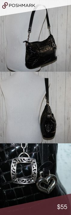 BRIGHTON Leather Black Faux Croc Embossed Purse BRIGHTON Leather Black Faux Croc Embossed Chain Hobo Shoulder Handbag Purse  **Note: There is some wear on metal (heart) and metal buckles attached to purse - see pic  Brand:Brighton Color:Black, Brown Pattern:Solid Material:Leather Features:Zipper Look:Hobo Style:Shoulder Bag Testure:Faux Croc Embossed Closure:Zipper Product Line:Hobo Bag Height:8 Bag Depth:8 Bag Length:12 Width:3.5 Strap Drop:10 Pockets: 4 Size:Medium…