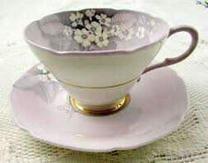 """Paragon 'Primula"""" Tea Cup and Saucer, Purple with White Flowers"""