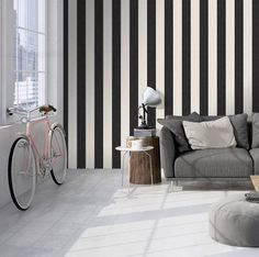 Tapeta w paski 329905 Innova Memory 3 Black And White Interior, White Interior Design, Interior Concept, Striped Wallpaper, Wall Wallpaper, High Quality Wallpapers, Decoration, Hygge, Memories