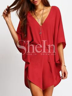 Red+V+Neck+Batwing+Sleeve+Tie-Waist+Jumpsuit+18.99
