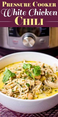 Instant Pot White Chicken Chili – Cookware and Recipes Instant Pot White Chicken Chili – Cookware and Recipes,Clean/Keto Noms Pressure Cooker White Chicken Chili! This White Chicken Chili is proof that chili doesn't have. Slow Cooker Recipes, Cooking Recipes, Cooking Chili, Slow Cooking, Healthy Pressure Cooker Recipes, Cooking Beets, Cooking Salmon, Cooking School, Easy Cooking