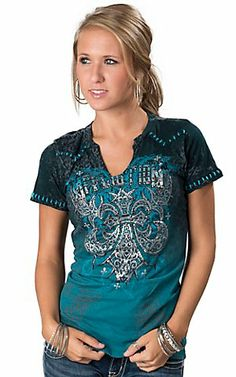 Affliction® Women's Teal Ombré with Grey Leopard Print and Studded Cross V-Neck Short Sleeve Tee | Cavender's