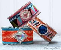 """Cute and Charming Ribbon Cuff Bracelets: While using leather material as a base, decorate your cuffs with ribbon and gems, and make them into the perfect bracelet to """"wake up"""" any outfit."""