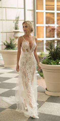 naama and anat wedding dresses 2019 deep v neckline with straps beach sexy lace Sexy Wedding Dresses, Wedding Dress Styles, Sexy Dresses, Bridal Dresses, Beautiful Dresses, Wedding Gowns, Fashion Dresses, Wedding Venues, Different Dresses