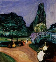 Edvard Munch (Norwegian; Expressionism, Symbolism, 1863–1944): Summer Night in Studenterlunden, 1899. - Google Search