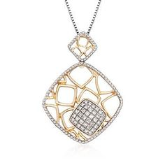 Diamond Geometric Necklace in Sterling Silver and Yellow Gold - Blogs inspired - Blogs inspired