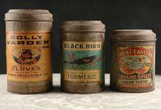 Vintage-y spice tins