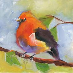 """Daily+Paintworks+-+""""scarlet+tanager+no.+2""""+-+Original+Fine+Art+for+Sale+-+©+Sue+Kemnitz"""