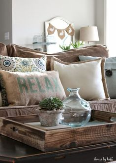 Labor Junction / Home Improvement / House Projects / Pillows / Living Room / Coffee Table / House Remodels / www.laborjunction.com