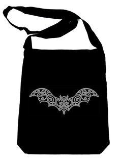 Elegant Gothic Vampire Bat on Black Sling Bag Halloween Book Bag