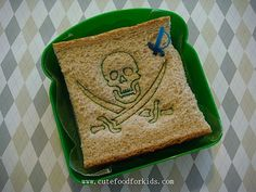 How do you like this pirate sandwich? My 5 years old son told me the older kids in his school loved this sandwi. Cute Food, Good Food, Pirate Food, Peter Pan Party, Lunch Box Recipes, Sandwich Recipes, Party Sandwiches, Kid Friendly Meals, Food Items