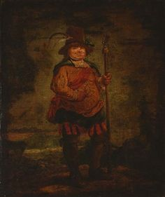 Portrait of a peasant man, standing full-length, wearing a pleated orange doublet and holding a spear By Francisco de Goya