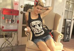 Olivia Paige -Punk rockabilly skull  racerback  tank top with bow on Etsy, $19.00