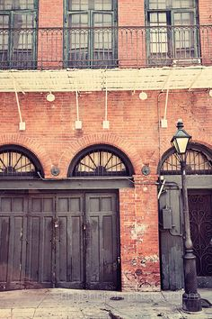 new orleans photography french quarter art new orleans building architecture photograph brick decor Black Doors