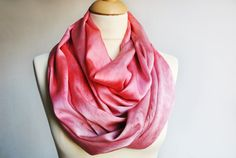 Silk Infinity Scarf Hand Dyed Silk Scarf Silk hand by OLHAVscarves