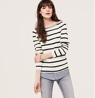 Two-In-One Softened Shirt - Meet the softened shirt – a light and airy button-down, with no detail left unbuttoned. Get a layered look with zero effort: this soft striped top has a built-in shirttail hem, for an ingenious button down effect. Ballet neck. Long sleeves.