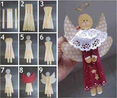 Popsicle stick angels #popsiclestick #angel #winter #christmas #kidscraft #craft #DIY