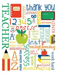 Free Printable: Thank You Teacher Subway Art by mollie MY DESIGN {personal use only} w/ clip art from ReviDevi