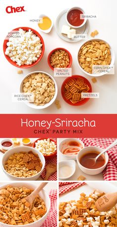 We love the mix of old and new when it comes to a backyard summer party. Why don't you pair your fresh lemonade with this sweet and spicy snack mix? It's our new recipe for Honey-Sriracha Chex Mix. Peanuts, Pretzels and Popcorn, along with your favorite Chex cereal, coated in an addictive coating of honey and sriracha sauce. Watch the contents of the bowl fly!