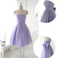 Sleeveless Light Purple Knee-Length Party Dress