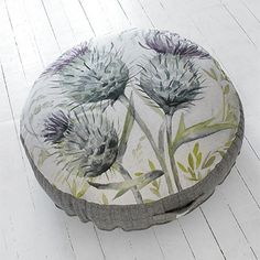 New: Thistle Glen Floor Cushion by Voyage Maison.   This design is based on a watercolour painting created at our Design Studio. The fabric has been digitally printed in our own printworks onto natural Scottish linen.