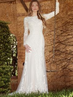 Shop affordable Sheath Long-Sleeve High Neck Tulle&Lace Wedding Dress With Sweep Train at June Bridals! Over 8000 Chic wedding, bridesmaid, prom dresses & more are on hot sale. Modest Wedding Dresses, Tulle Wedding, Designer Wedding Dresses, Bridal Dresses, Wedding Gowns, Wedding Album, Mermaid Wedding, Wedding Venues, Prom Dresses