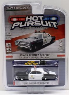 1:64  GREENLIGHT HOT PURSUIT SERIES 20 - 1967 CHEVROLET BISCAYNE - Clark County #Greenlight #Chevrolet
