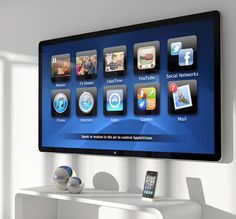 Apple Vision - The future of Television. With T.V and Internet linking together on one system. Camera in AppleVision which recognizes when you walk in the room and turns on the default home screen.
