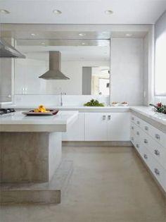 Cozinha clean com Cimento queimado