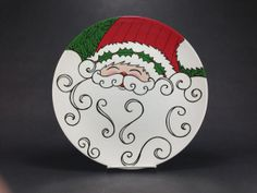 Ceramic Bisque Hand Painted Santa Plate by 365Tileaday on Etsy, $45.00