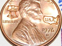 Vintage 1976 D Bicentennial  Penny on Original Card 1776 1976 RED HIGH QUALITY