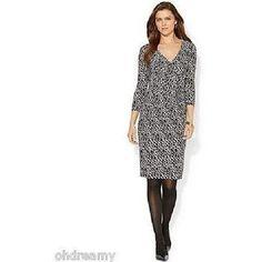American Living Geo-Print Faux-Wrap Dress, Size 6
