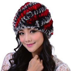 Striped Knitted Rex Rabbit Fur Hat | Stylish Beth