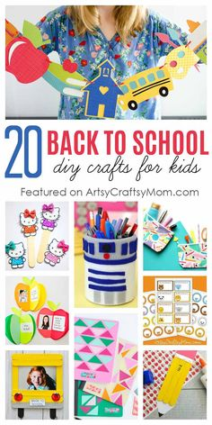 20 Awesome Back to School Crafts for Kids to Make and Gift is part of Kids Crafts Easy Homemade - Celebrate the excitement of a new school year with new books, stationery, and our awesome Back to School Crafts to make for themselves or their friends! Back To School Crafts For Kids, Crafts For Kids To Make, Kids Crafts, Toddler Crafts, Preschool Crafts, Homemade Teacher Gifts, Homemade Gifts, Friend Crafts, Book Stationery
