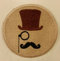 Swanky Hipster Patch Man with mustache and TopHat Patch