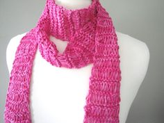 Skinny Scarf Thin Scarf with Fringe Bold Pink Scarf by Girlpower