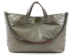 NEW CHANEL Gray Maroon Leather Iridescent Caviar Calfskin Tote Handbag FV12B at www.ShopLindasStuff.com