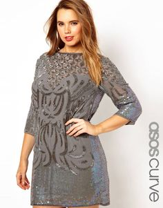 Baroque Beading Great Gatsby Plus size dress asos curve grey gray asos curve
