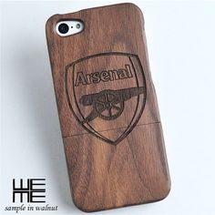 Custom wood iphone 6 / 6 plus, iphone 4/4s, 5/5s, 5c case, custom wooden samsung galaxy s4, S5, Note 3 case, engraved Arsenal logo, gift