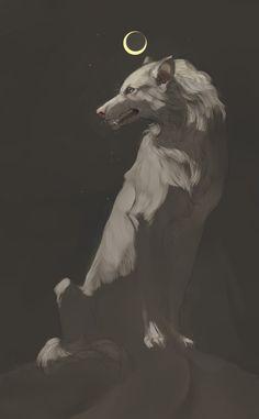 by Assovi-Major on DeviantArt - Moon. by Assovi-Major - Animal Drawings, Art Drawings, Character Art, Character Design, Anime Wolf, Mythical Creatures, Dark Art, Art Inspo, Art Sketches