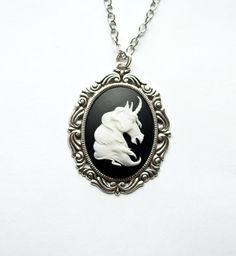 Unicorn Cameo Necklace Black White Unique by SaltyStarDesigns, $23.00