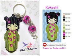 Poupée Kokeshi à tisser avec des perles à chauffer