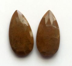 Brown Agate Faceted Drops 2 Pcs Matched Pair by gemsforjewels
