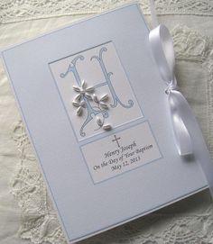 Baptism Gift Personalized Photo Album Keepsake - Petite - New Baby - Dedication - Christening Beaded Monogram on Etsy, $28.00