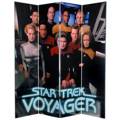 """71"""" x 63"""" Star Trek Tall Double Sided Voyager 4 Panel Room Divider"""