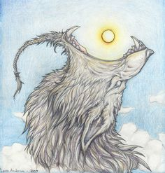 Sköll- Norse myth: a warg, or giant wolf, that chases Sol, the sun, across the sky every day. he is the son of Fenrir and he is prophesied to catch the sun at Ragnarok.