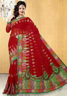 USD 61.04 Maroon Embroidery Net Wedding Saree 29072